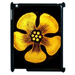 Yellow Flower Stained Glass Colorful Glass Apple Ipad 2 Case (black) by Onesevenart