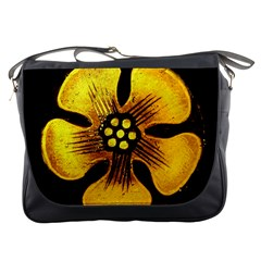 Yellow Flower Stained Glass Colorful Glass Messenger Bags by Onesevenart