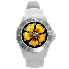 Yellow Flower Stained Glass Colorful Glass Round Plastic Sport Watch (l) by Onesevenart