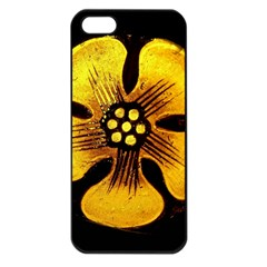Yellow Flower Stained Glass Colorful Glass Apple Iphone 5 Seamless Case (black) by Onesevenart