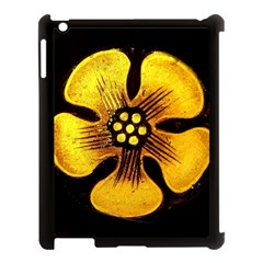 Yellow Flower Stained Glass Colorful Glass Apple Ipad 3/4 Case (black) by Onesevenart