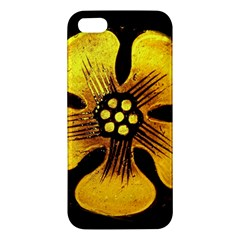 Yellow Flower Stained Glass Colorful Glass Apple Iphone 5 Premium Hardshell Case by Onesevenart