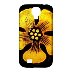 Yellow Flower Stained Glass Colorful Glass Samsung Galaxy S4 Classic Hardshell Case (pc+silicone) by Onesevenart