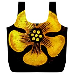 Yellow Flower Stained Glass Colorful Glass Full Print Recycle Bags (L)