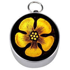 Yellow Flower Stained Glass Colorful Glass Silver Compasses by Onesevenart