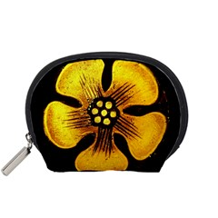Yellow Flower Stained Glass Colorful Glass Accessory Pouches (small)  by Onesevenart