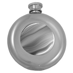 Wave Form Texture Background Round Hip Flask (5 Oz) by Onesevenart