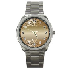 Floral Decoration Sport Metal Watch by Onesevenart