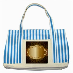 Floral Striped Blue Tote Bag by Onesevenart