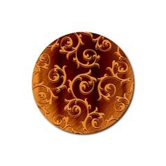 Floral Vintage Rubber Round Coaster (4 Pack)  by Onesevenart