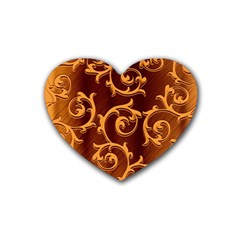 Floral Vintage Rubber Coaster (heart)  by Onesevenart