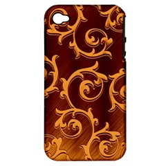 Floral Vintage Apple Iphone 4/4s Hardshell Case (pc+silicone) by Onesevenart