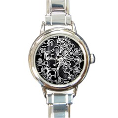 Floral High Contrast Pattern Round Italian Charm Watch by Onesevenart