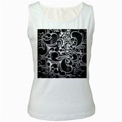 Floral High Contrast Pattern Women s White Tank Top by Onesevenart