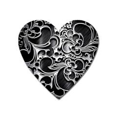 Floral High Contrast Pattern Heart Magnet by Onesevenart