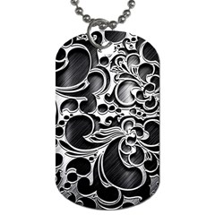 Floral High Contrast Pattern Dog Tag (One Side) by Onesevenart