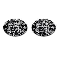 Floral High Contrast Pattern Cufflinks (oval) by Onesevenart