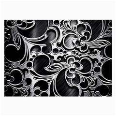 Floral High Contrast Pattern Large Glasses Cloth by Onesevenart