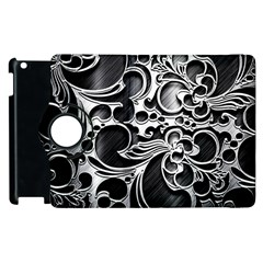 Floral High Contrast Pattern Apple Ipad 3/4 Flip 360 Case by Onesevenart