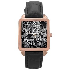 Floral High Contrast Pattern Rose Gold Leather Watch  by Onesevenart