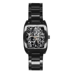 Floral High Contrast Pattern Stainless Steel Barrel Watch by Onesevenart