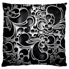 Floral High Contrast Pattern Large Flano Cushion Case (two Sides) by Onesevenart