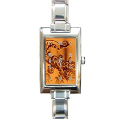 Floral Vintage  Rectangle Italian Charm Watch by Onesevenart