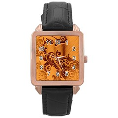Floral Vintage  Rose Gold Leather Watch  by Onesevenart