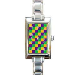 Mardi Gras Checkers Rectangle Italian Charm Watch by PhotoNOLA