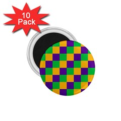 Mardi Gras Checkers 1 75  Magnets (10 Pack)  by PhotoNOLA