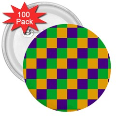 Mardi Gras Checkers 3  Buttons (100 Pack)  by PhotoNOLA