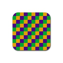 Mardi Gras Checkers Rubber Coaster (square)  by PhotoNOLA