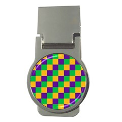 Mardi Gras Checkers Money Clips (round)  by PhotoNOLA