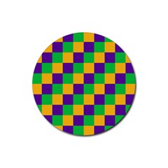 Mardi Gras Checkers Rubber Round Coaster (4 Pack)  by PhotoNOLA