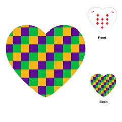 Mardi Gras Checkers Playing Cards (heart)  by PhotoNOLA