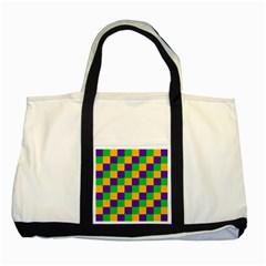 Mardi Gras Checkers Two Tone Tote Bag by PhotoNOLA