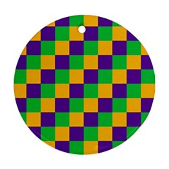 Mardi Gras Checkers Round Ornament (two Sides) by PhotoNOLA