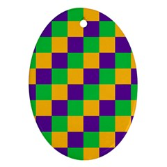 Mardi Gras Checkers Oval Ornament (two Sides) by PhotoNOLA