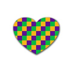 Mardi Gras Checkers Rubber Coaster (heart)  by PhotoNOLA
