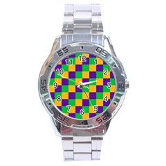Mardi Gras Checkers Stainless Steel Analogue Watch by PhotoNOLA