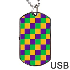 Mardi Gras Checkers Dog Tag Usb Flash (two Sides) by PhotoNOLA