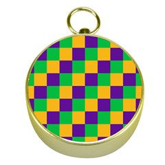 Mardi Gras Checkers Gold Compasses by PhotoNOLA