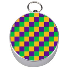 Mardi Gras Checkers Silver Compasses by PhotoNOLA
