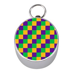 Mardi Gras Checkers Mini Silver Compasses by PhotoNOLA