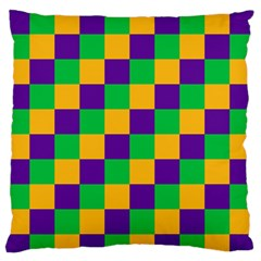 Mardi Gras Checkers Standard Flano Cushion Case (one Side) by PhotoNOLA