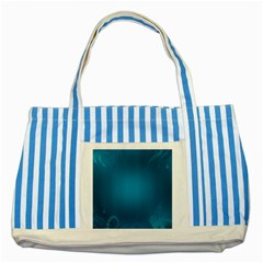 Blue Sea World Animals Fish Flower Floral Swim Waves Striped Blue Tote Bag by Alisyart