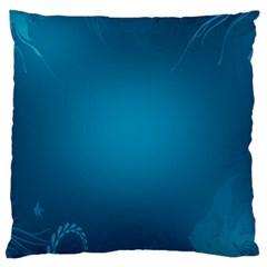 Blue Sea World Animals Fish Flower Floral Swim Waves Large Cushion Case (two Sides)