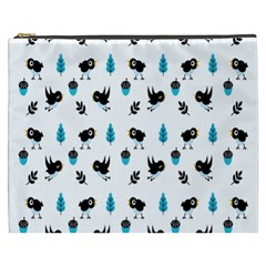 Bird Beans Leaf Black Blue Cosmetic Bag (xxxl)  by Alisyart