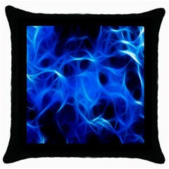 Blue Flame Light Black Throw Pillow Case (black) by Alisyart
