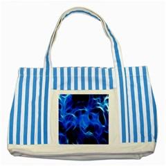 Blue Flame Light Black Striped Blue Tote Bag by Alisyart